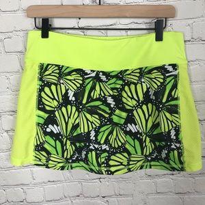 Fila Skort Lime Green Butterfly pattern EUC medium
